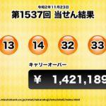 【第1537回 令和2年11月23日】 ロト6(LOTO6) 当せん結果と次回当せん番号予想