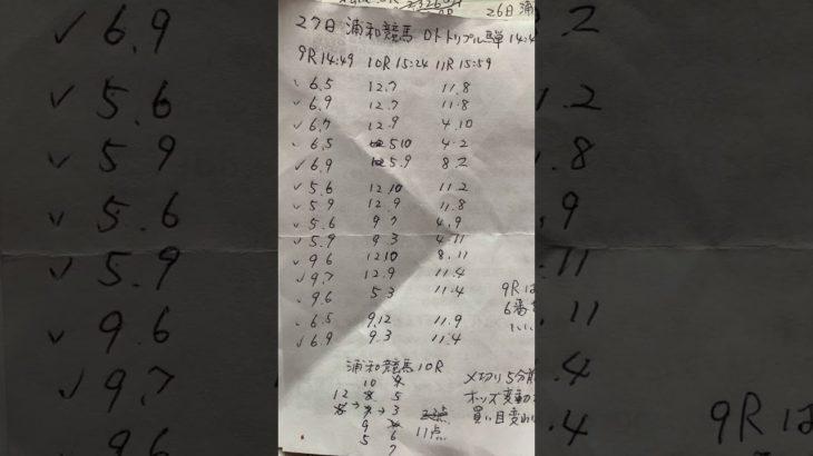 27日浦和競馬10レースとロトトリプル馬券