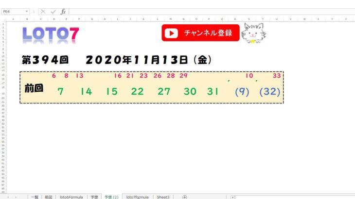 予想数字 第394回 LOTO7 ロト7 2020年11月13日 (金) HiromiTV