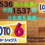 【 ロト6 】分布表数字からは5個的中の多数派データでした ロト6 第1536回結果と次回1537回分布表をアップ