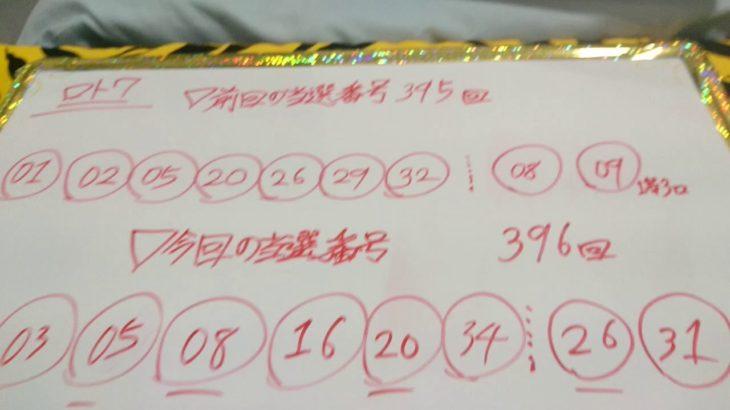 ロト7 結果 第396回 宝くじ 当選番号 #10 金鬼