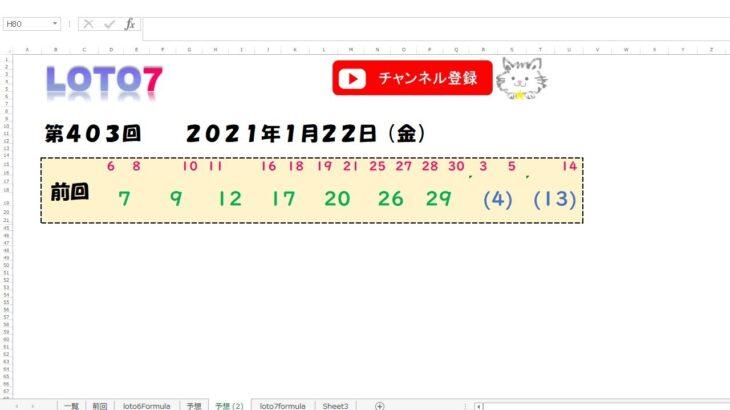 予想数字 第403回 LOTO7 ロト7 2021年1月22日 (金) HiromiTV