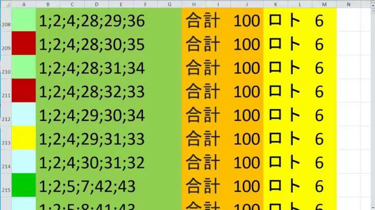 ロト 6 合計 100 (43から6)  ビデオ 10