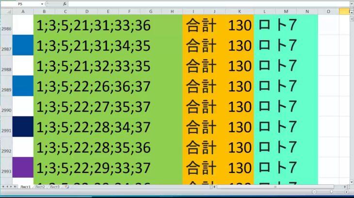 ロト 7 合計 130 ビデオ番号 120
