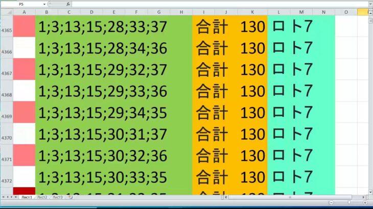 ロト 7 合計 130 ビデオ番号 175