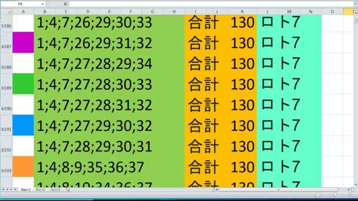 ロト 7 合計 130 ビデオ番号 248