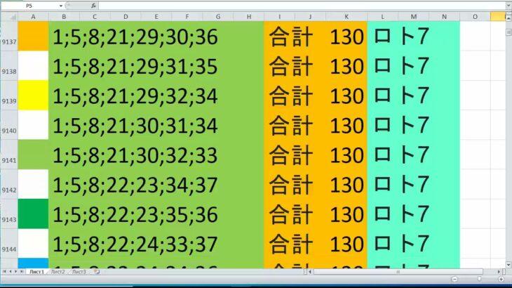 ロト 7 合計 130 ビデオ番号 366
