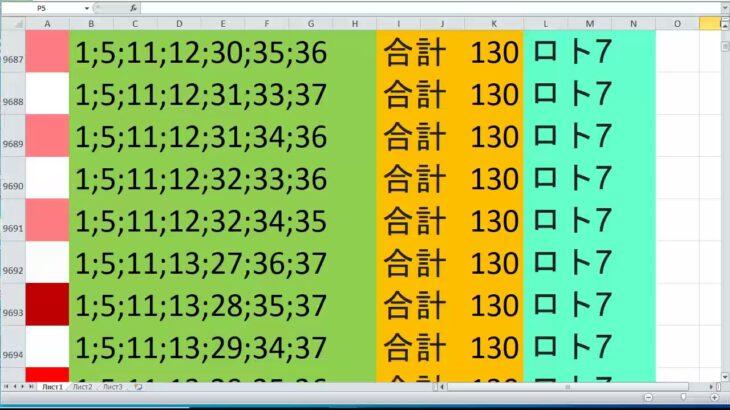 ロト 7 合計 130 ビデオ番号 388
