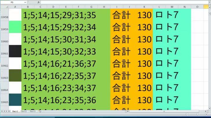 ロト 7 合計 130 ビデオ番号 419