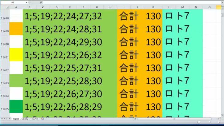 ロト 7 合計 130 ビデオ番号 460