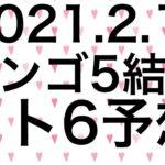【2021.2.11】ビンゴ5結果&ロト6予想!