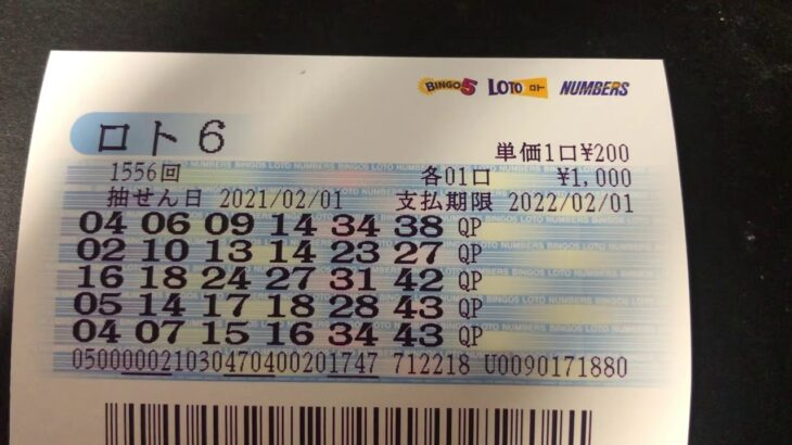 ロト6購入(2021/02/01公開分)1556回【#ロト6】【#ロト6】