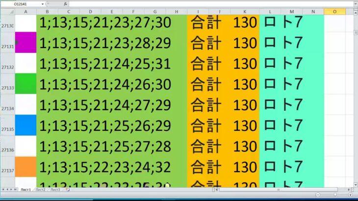 ロト 7 合計 130 ビデオ番号 559
