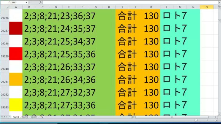 ロト 7 合計 130 ビデオ番号 569