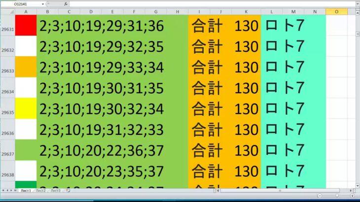 ロト 7 合計 130 ビデオ番号 571