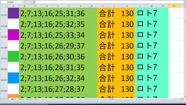 ロト 7 合計 130 ビデオ番号 631
