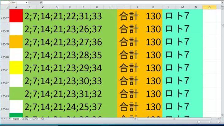 ロト 7 合計 130 ビデオ番号 633