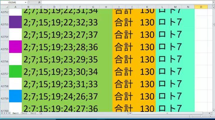 ロト 7 合計 130 ビデオ番号 634