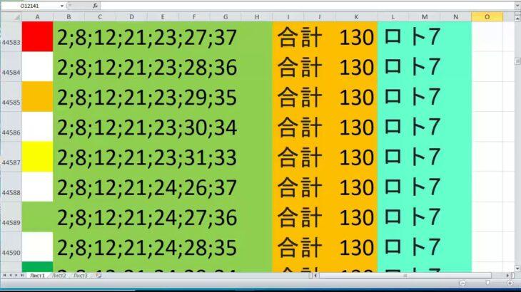 ロト 7 合計 130 ビデオ番号 643