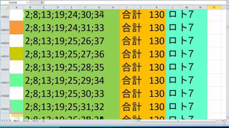 ロト 7 合計 130 ビデオ番号 644