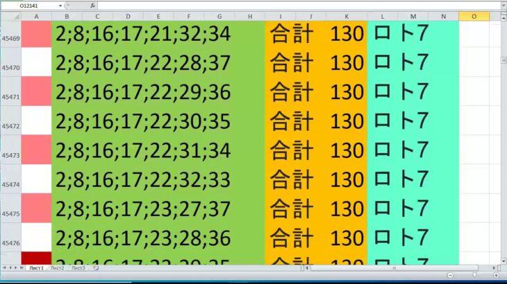 ロト 7 合計 130 ビデオ番号 647