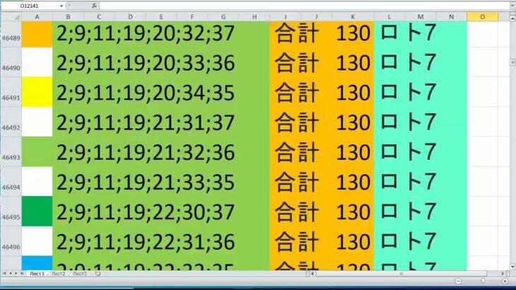ロト 7 合計 130 ビデオ番号 652