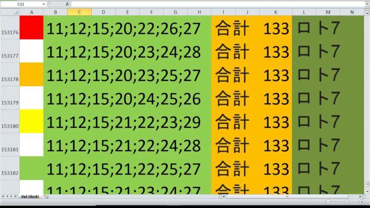 ロト 7 合計 133 ビデオ番号 263