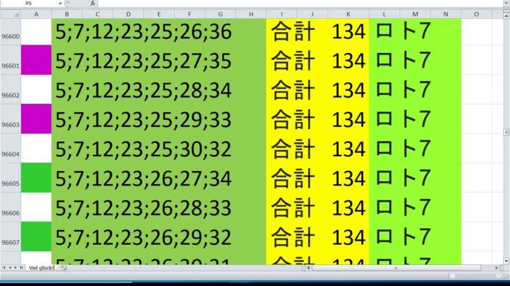 ロト 7 合計 134 ビデオ番号 165