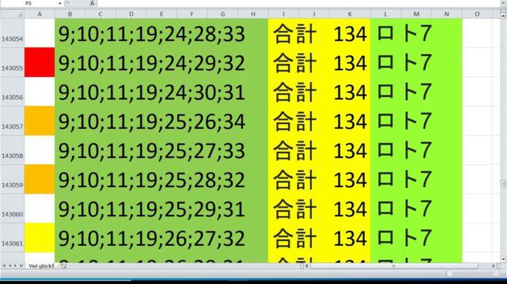 ロト 7 合計 134 ビデオ番号 244