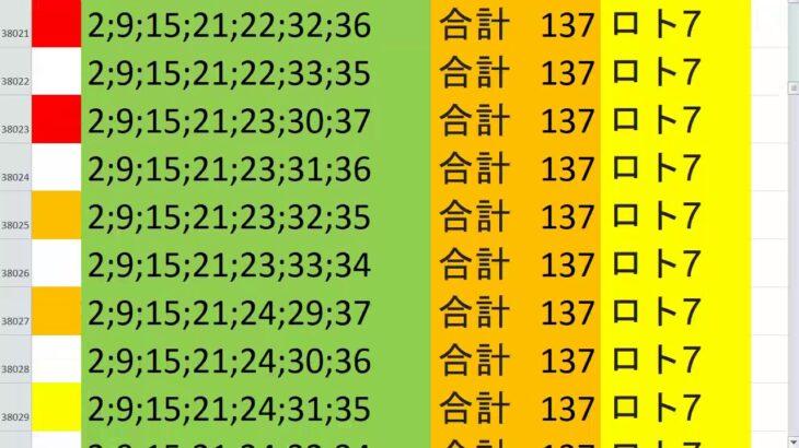 ロト7 合計 137 ビデオ 33