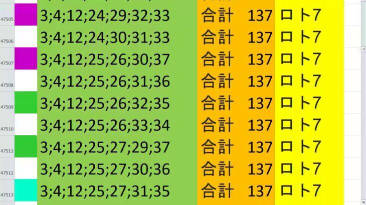 ロト7 合計 137 ビデオ 41