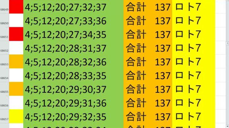 ロト7 合計 137 ビデオ 59