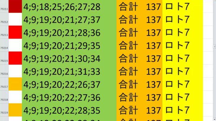 ロト7 合計 137 ビデオ 68