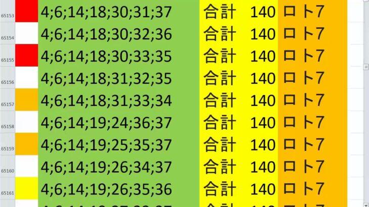ロト7 合計 140 ビデオ 56