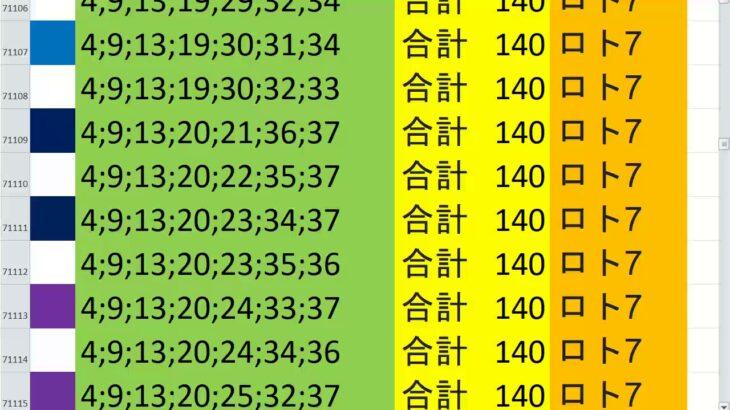 ロト7 合計 140 ビデオ 61