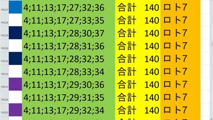 ロト7 合計 140 ビデオ 64