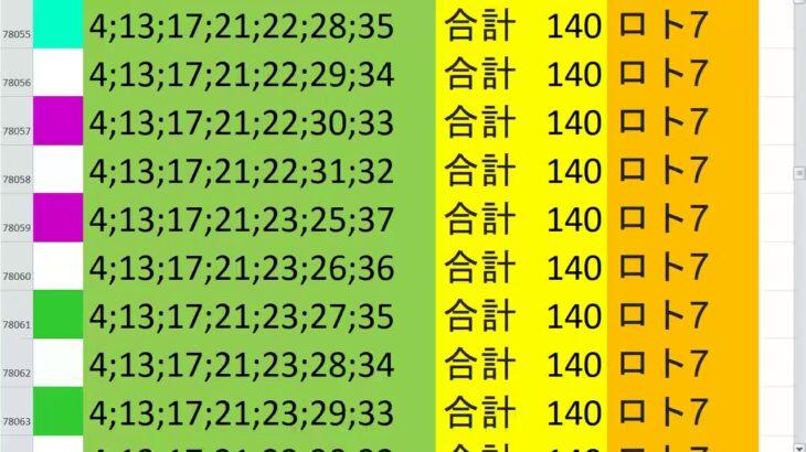 ロト7 合計 140 ビデオ 67