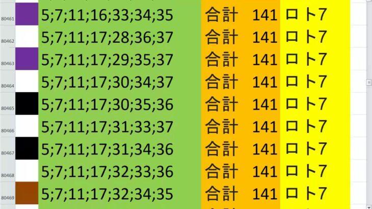 ロト7 合計 141 ビデオ 69