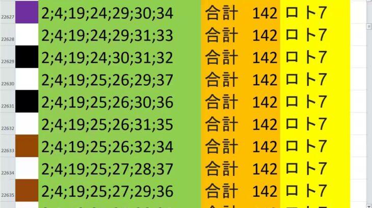 ロト7 合計 142 ビデオ 20
