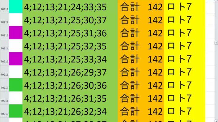 ロト7 合計 142 ビデオ 61