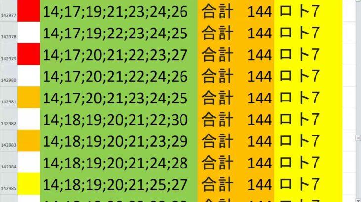 ロト7 合計 144 ビデオ 122