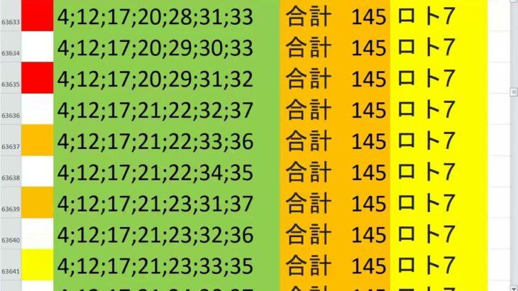 ロト7 合計 145 ビデオ 108