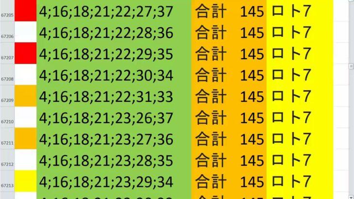 ロト7 合計 145 ビデオ 114