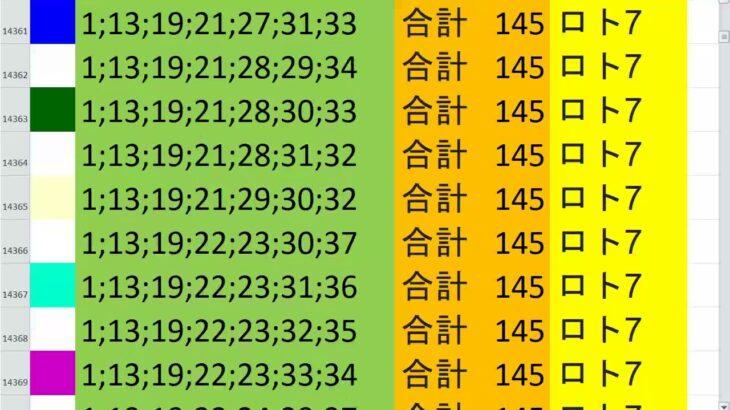 ロト7 合計 145 ビデオ 25