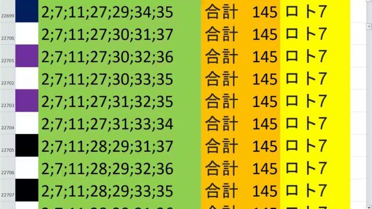 ロト7 合計 145 ビデオ 39