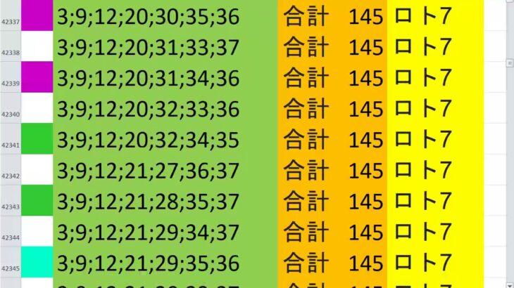 ロト7 合計 145 ビデオ 72