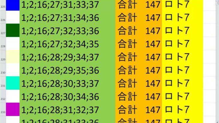 ロト7 合計 147 ビデオ 1