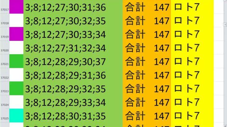 ロト7 合計 147 ビデオ 63