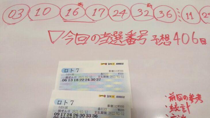 ロト7 予想 第406回 宝くじ 当選番号 #20 金鬼