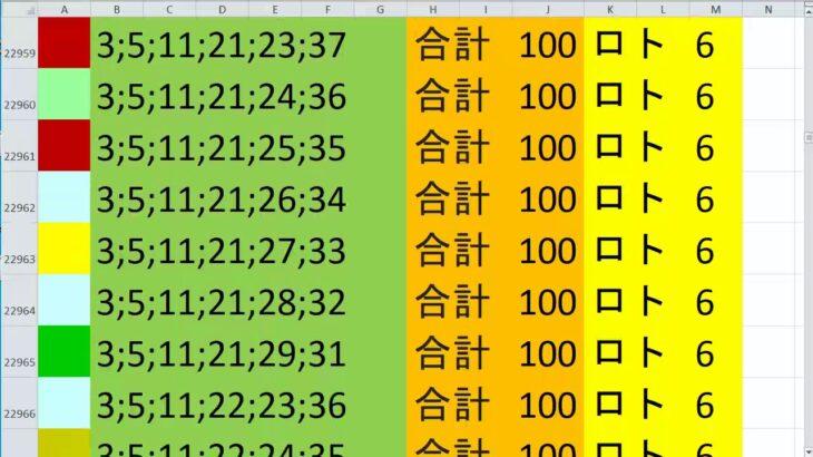 ロト 6 合計 100 (43から6)  ビデオ 1051